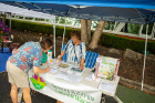 Linda Young stops by a table staffed by Mary McCarthy to get information on the Capen Garden Walk, which also was taking place that day in the neighborhood.