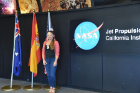 Beata Csatho, chair of geology, at the NASA Jet Propulsion Laboratory (JPL) in California. Csatho and colleague Tony Schenk visited JPL as part of their recent trip to the West Coast, where they viewed the launch of ICESat-2. Photo: Tony Schenk