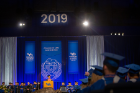 President Satish K. Tripathi speaks to graduates of the College of Arts and Sciences at the May 19 ceremony in Alumni Arena. Photo: Meredith Forrest Kulwicki