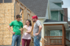 Another team—made up, from left, of Danial Khan, Paige Iovine-Wong and Josh Flaccavento—worked with Habitat for Humanity Buffalo to increase the sustainability of its Critical Home Repair Program. Photo: Onion Studio.