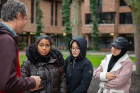 Adam Wilson (far left) gives some instruction to his students, Christin Bratton, Trang Le and Shaima Abughanem before they head out to observe their trees.