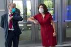 "Lt. Gov. Kathy Hochul exchanges an ""elbow bump"" with infectious disease expert Thomas Russo."