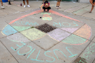 "The students worked together to create a large heart chalk drawing on the sidewalk near the Student Union. It read: ""Justice for Vanessa."""