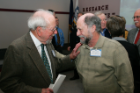 Former RIA Director Howard T. Blane (L) catches up with Steven Schwartz (R), former director of Stutzman AddictionTreatment Center.