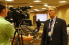 RIA Director Kenneth E. Leonard, PhD, is interviewed by local media prior to his presentation