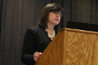 "Sarah Cercone Heavey, MA, doctoral student at UB's School of Community Health and Health Behavior discusses her work during ""The Opioid/Heroin Epidemic: Perspectives from the Primary Care Clinic, Emergency Room, and First Responders"""