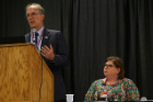 "RIA Director Kenneth E. Leonard, PhD, discusses his work during ""The Opioid/Heroin Epidemic: Perspectives from the Primary Care Clinic, Emergency Room, and First Responders"" as Heather Lindstrom, PhD, of ECMC's Department of Emergency Medicine looks on"