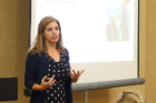 "Amanda B. Nickerson, PhD, of UB's Alberti Center for Bullying Abuse Prevention presents during the ""Bullying and Substance Use Among Adolescents"" workshop"