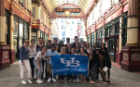 UB students took a walking tour of the business district in London, which included a brief history of how London was rebuilt after severe fires.