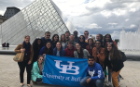 UB students participated in a walking tour through Paris starting at the Eiffel Tower and ending at the Louvre, learning about history and the importance of the Louvre.