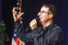 "John Oliver (Political Satirist and Star of HBO's ""Last week Tonight with John Oliver"") at the UB Alumni Arena on December 3, 2014"