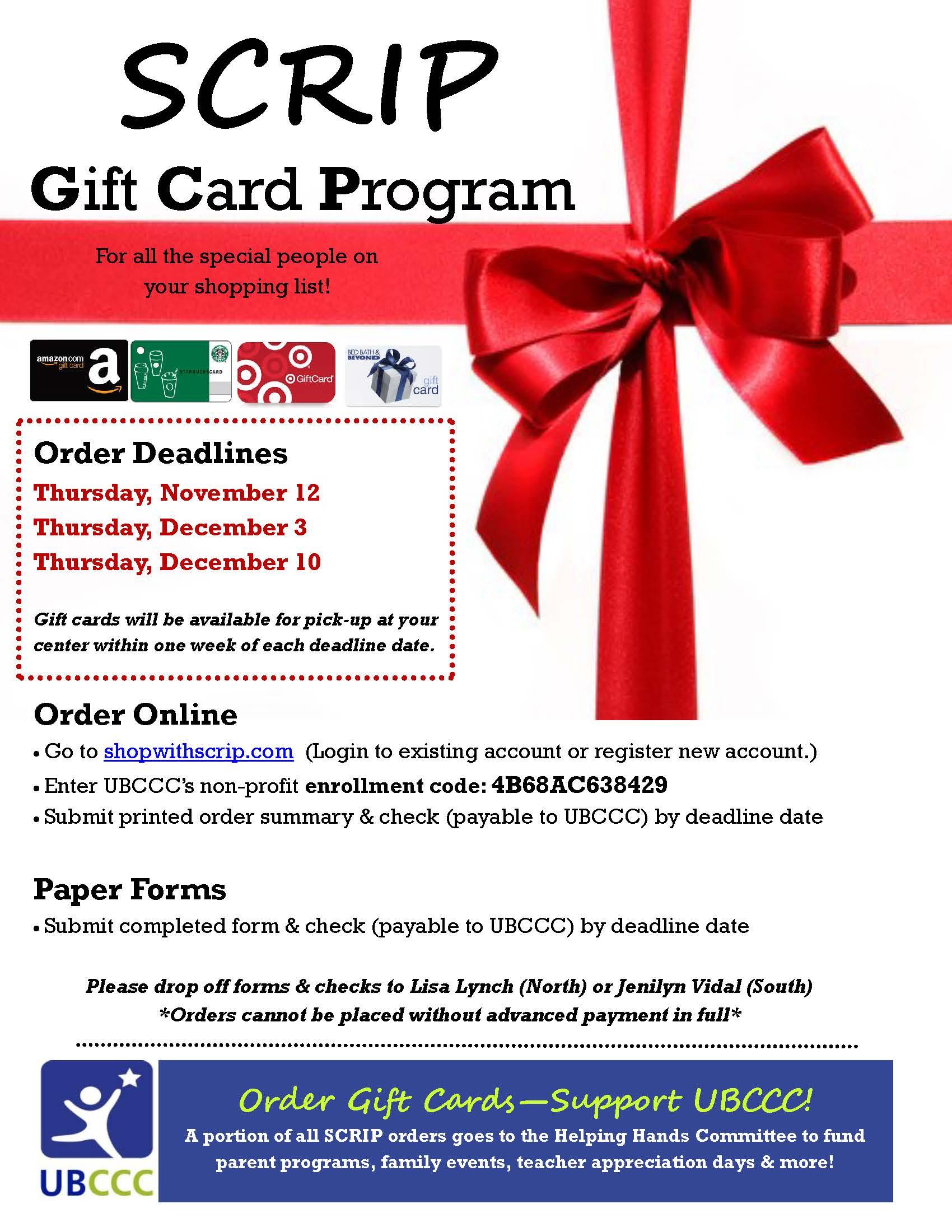 Annual SCRIP Gift Card Program - University at Buffalo Child Care ...