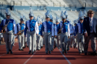 The Marching Band unveiled its new instruments and uniforms at the UB Football home opener against Robert Morris.
