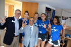 In August, President Satish Tripathi and Vice President for Student Life Scott Weber were part of 550 move-in volunteers that helped over 7,700 students check into on-campus housing.