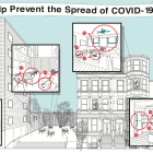 Poster of COVID health guidelines shows full range of spaces within a multi-unit housing building in New York City. Graphics show a brownstone style house with directional arrows highlighting main spaces where guidelines are focused.
