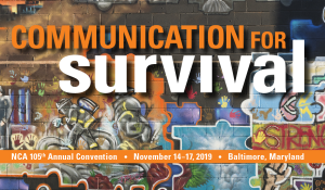 "A graphic photo that says ""Communication for Survival""."
