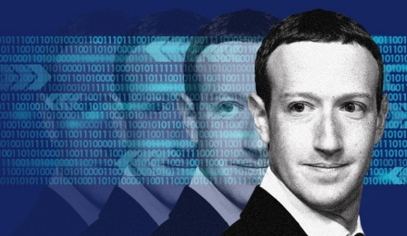 """Illustration of Mark Zuckerberg, CEO of Facebook""."