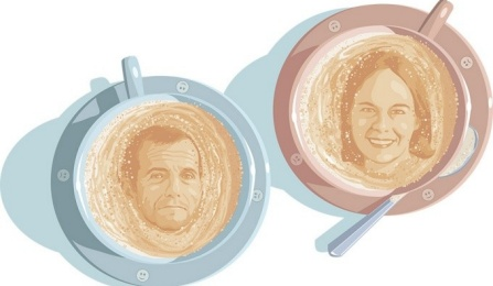 """Illustrations of Steven Dubovsky (left) and Melanie Green (right) as coffee foam art""."