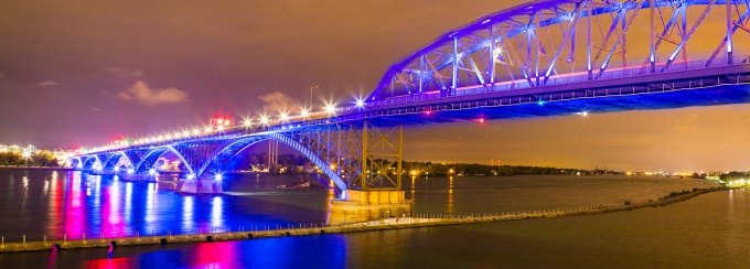 A nighttime view of the Peace Bridge in Buffalo that connects New York and Canada.