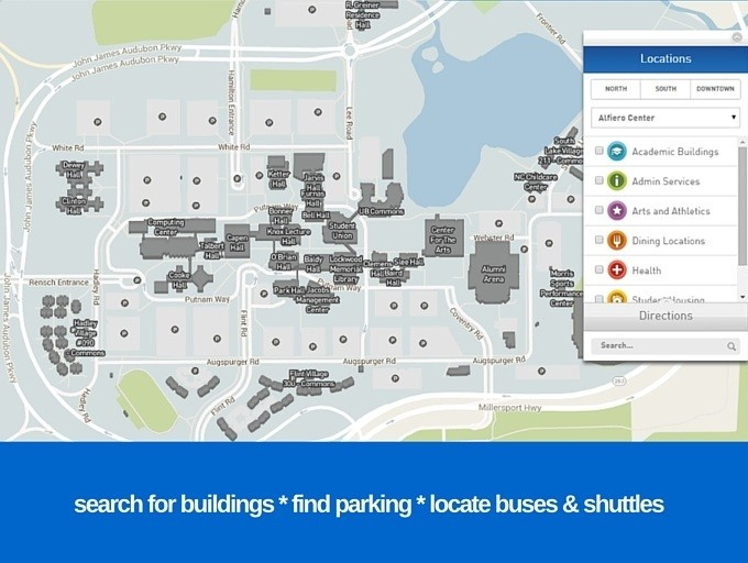Snapshot of UB Interactive Campus Map.