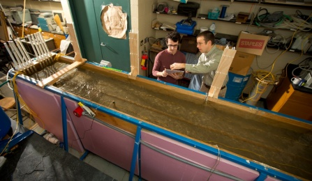 A model river, called a flume, in the Natural Sciences Complex at the University at Buffalo.