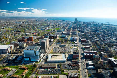 Aerial view of downtown Buffalo.