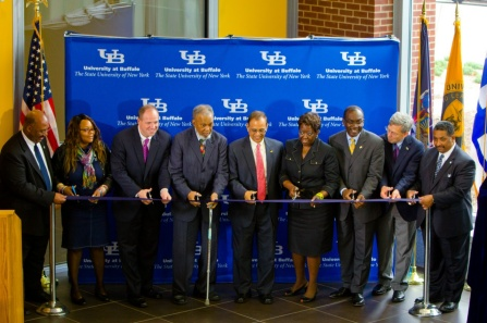 UB officials cut ribbon celebrating the opening of the new Educational Opportunity Center.