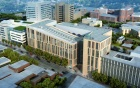 Aerial view of the new UB medical school building viewed from the southwest.