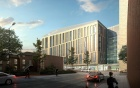 Street-level view rendering of the new UB medical school building as seen from the southwest.