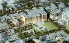 Aerial view rendering of the new UB medical school building as seen from the southeast.