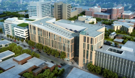 Aerial view rendering of the new UB medical school building from the southwest.