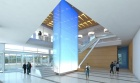 architect's rendering of the main lobby of the new medical school