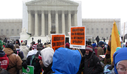 Protesters outside the U.S. Supreme Court.