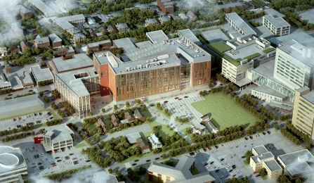 aerial view of the new med school