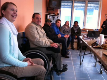 People with disabilities at a meeting in Moldova.