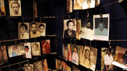 A collection of photos that appear in a Rwanda massacre memorial.