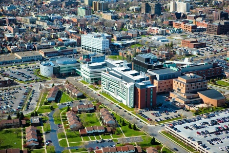 Arial view of UB's downtown campus and the neighborhoods surrounding it.