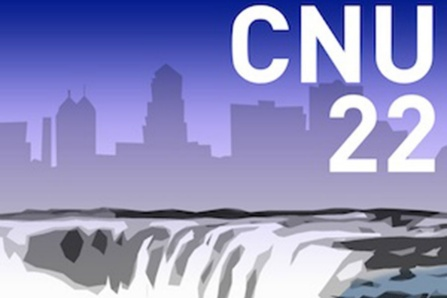 Poster from the Congress for New Urbanism national conference, showing the Buffalo skyline juxtaposed against an image of Niagara Falls.