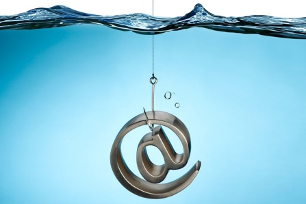 "A fish hook catching an ""at"" symbol, concept of email phishing. Image may not be republished."