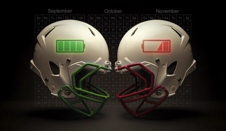 Two football helmets featuring battery icons.