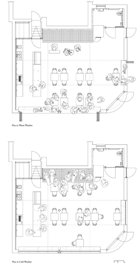 Diagrams showing the floor plan for the new cafe.