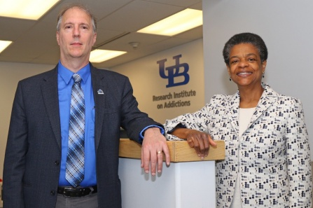 Kenneth E. Leonard, director of the Research Institute on Addictions, and R. Lorraine Collins, professor, Department of Community Health and Health Behavior.