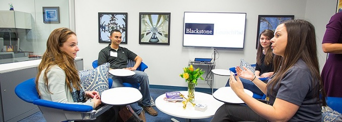 Students gather at Blackstone LaunchPaf at UB.