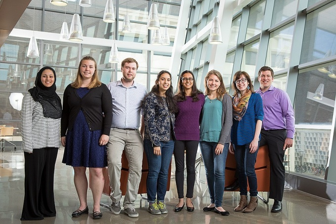 UB's student Fulbright scholars, from left: Farhana Hasan, Ashlee Hart, Michael Surrett, Antara Majumdar (alternate), Sushmita Gelda, Sarah Stanford, Lisa Gagnon and Jacob Caldwell.