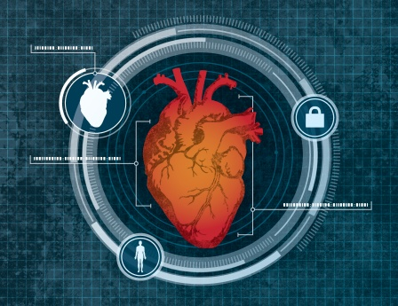 Illustration of heart-based computer security system.