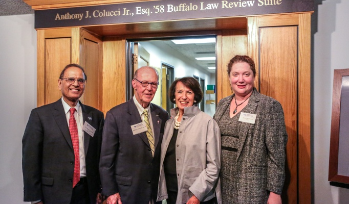 UB President Satish K. Tripathi, Anthony J. Colucci Jr., Carmela Colluci and UB School of Law Dean Aviva Abramovsky.