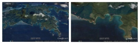 Two panels showing maps of St. John in the U.S. Virgin Islands.