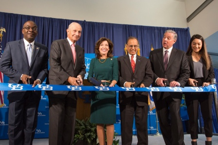 From left to right, Byron Brown, Jeremy Jacobs, Kathy Hochul, Satish Tripathi, Michael Cain and Laura Reed.