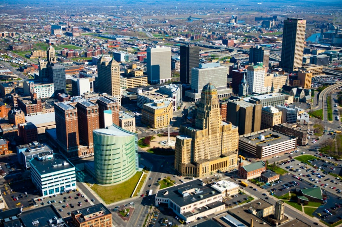 Aerial view of downtown Buffalo, including City Hall.