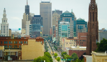 View of downtown Buffalo with city landmarks such as Shea's Buffalo visible.